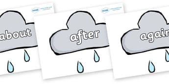 KS1 Keywords on Weather Symbols (Rain) - KS1, CLL, Communication language and literacy, Display, Key words, high frequency words, foundation stage literacy, DfES Letters and Sounds, Letters and Sounds, spelling
