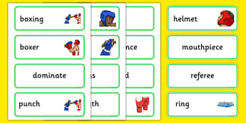 The Olympics Boxing Word Cards - Boxing, Olympics, Olympic Games, sports, Olympic, London, 2012, word card, flashcards, cards, activity, Olympic torch, events, flag, countries, medal, Olympic Rings, mascots, flame, compete