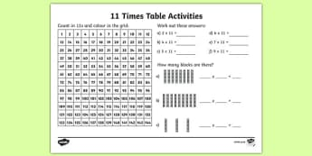 11 Times Table Activity Sheet - eleven times table, maths, mathematics, multiplication, multiply, times, worksheet, times table, times tables