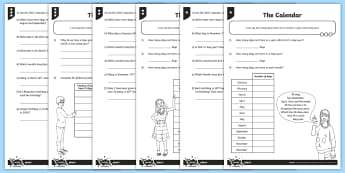 The Calendar Differentiated Worksheet / Activity Sheets - measurement, time, the year, calendar, months, 2017.
