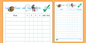Look, Cover, Write, Check Spelling Daily Checklist