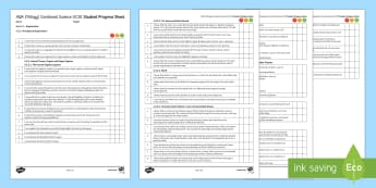AQA Trilogy Unit 4.2 Organisation Student Progress Sheet - Student Progress Sheets, AQA, RAG sheet, Unit 4.2 Organisation