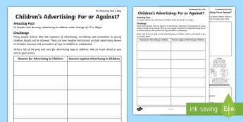 Children's Advertising: For or Against? Worksheet / Activity Sheet - amazing fact august, debate, advertising debate, for or Against, for or against advertising, adverti