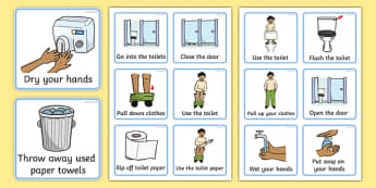 Visual Timetable (Using The Toilet - Boys) - how to use the toilet, wash hands, flush toilet, Visual Timetable, SEN, Daily Timetable, School Day, Daily Activities, flush the toilet, toilet, toilets, boys,
