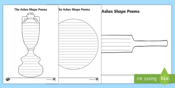 The Ashes Shape Poem Writing Template - Cricket, writing, poetry, rhyming words, literacy,Australia