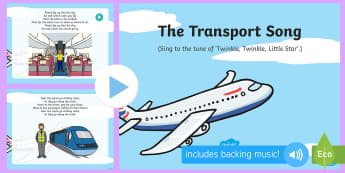 The Transport Song PowerPoint - Transport and Travel, Aeroplane, airplane, tram, ferry, ferries, public transport