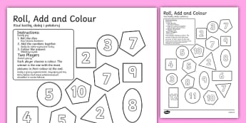 2D Shapes Roll and Colour Dice Addition Activity English/Polish - 2D, shapes, shpes, 2d shaes, +, 2Dshape, adition, 2d shaoes, 2d shappes, additon, 2d shpaes,Polish-t