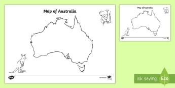 Blank Map of Australia Activity Sheet - map, mapping, australia, History, worksheet