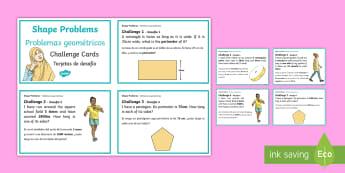 Shape Problems Challenge Cards English/Spanish - shape challenge cards, shape questions, maths challenge cards, 2D shapes, maths, EAL