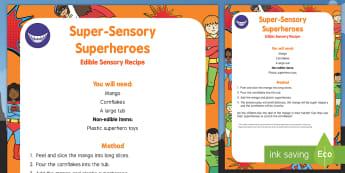 Super Sensory Superheroes Edible Sensory Recipe - Superheroes, superhero, super hero, sensory play, batman, superman, spiderman