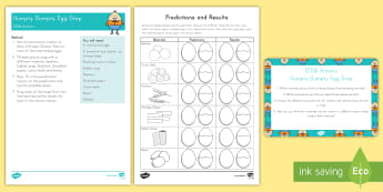 Humpty Dumpty Egg Drop STEM Activity and Prompt Card Pack - nursery rhyme, Nursery Rhyme STEM activity, pre-k science, kindergarten Science