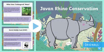 Javan Rhino Conservation PowerPoint - Ronald the Rhino, children's book, rhyme, story, text, rhyming couplets, syllables, Leopard, Python