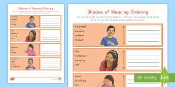 Shades of Meaning Activity Sheet - Vocabulary, language, thesaurus, nuances in word meaning, word work, worksheet