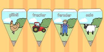La fermă - Stegulețe decor - la fermă, stegulețe, animale, decor, materiale, materiale didactice, română, romana, material, material didactic