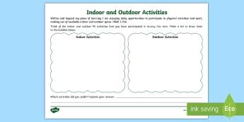 Cfe- First Level- Indoor and Outdoor Activities- Worksheet / Activity Sheet - Cfe, First Level, P.e, Outdoor, indoor, learning, spaces,worksheet