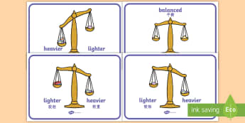 Weight Comparison Display Posters English/Mandarin Chinese - Weight, weights, balance, balanced, weighing, scales, weighing scales, heavier, lighter, equal, uneq