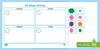 2D Shape Sorting Activity Sheet  - 2D shapes, shapes, 2D,
