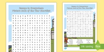 Australian Book Week- Escape to Eveywhere Picture Book of the Year Shortlist Word Search-Australia -  picture book, book week, literature, books.,Australia, wordsearch, reading, authors,