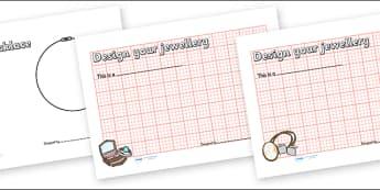 Jewellery Shop Role Play Jewellery Design Sheets - jewellery, jewellery design worksheet, jewellery shop role play, design your own jewellery worksheet