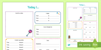 Today I... Daily Diary for Baby Record - Daily sheet, daily diary, daily record, care sheet, daily communication, daily sheet, baby diary. A