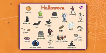 Halloween Word Mat - festival, key words, visual aid, writing aid