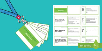 Lanyard Sized Measurement Objectives Cards - measurement, objectives, year 3, year three, y3, maths, National Curriculum statements, teaching sta