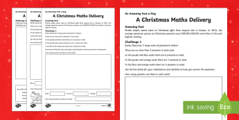 A Christmas Maths Delivery Activity Sheet - Amazing Fact Of The Day, activity sheets, powerpoint, starter, morning activity, December, maths, pu