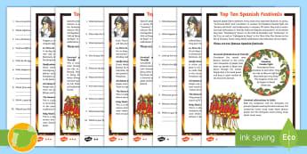 Top Ten Spanish Festivals Differentiated Reading Comprehension Activity - Festivales, Sanfermines, Tomatina, Feria de Abril, flamenco, Carnaval,Spanish