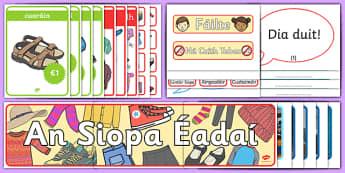 Pacáiste Taispeána: An Siopa Éadaí - Gaeilge, Éadaí, siopadóireacht, siopa, ról imirt