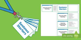 Lanyard Sized KS2 Sentence Starters Cards - KS2, reading comprehension, maths, numeracy, writing, general thinking, year 3,  year 4, year 5, yea