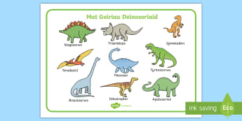 Mat Geiriau Deinosoriaid - deinosoriaid, geiriau, geirfa, sillafu, enwau, mat, Welsh