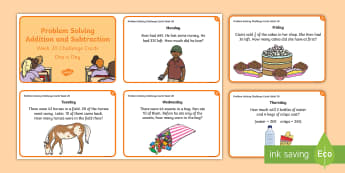 Week 20 - Problem Solving - Addition and Subtraction Challenge Cards - Problem, Word Problem, Rude, Addition, Subtraction