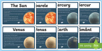 Solar System Display Facts Posters English/Romanian - Solar System Facts Display Posters - solar system, sun, system, mercury, venus, facts, fact sheet, p