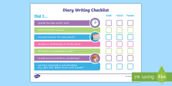 LKS2 Diary Writing Checklist - Diary, Diaries, Writing Diaries, Diary WAGOLL, Success Criteria, Diary Extract, Diary Entry, diary w