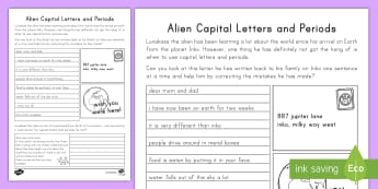 Alien Capital Letters and Periods Activity Sheet -  Punctuation, friendly letter, letter, language, worksheet, grammar, english, Alien Theme, word work