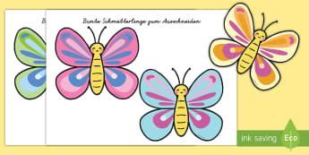 Bunte Schmetterlinge zum Ausschneiden - Schmetterling, Insekt, kleben, schneiden, ausschneiden, basteln, Geschenk, einkleben, schere, papier