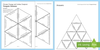 Climate Change and Carbon Footprint Tarsia Triangular Dominoes - Tarsia, gcse, chemistry, climate change, global warming, greenhouse effect, greenhouse gases, advers, plenary activity