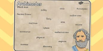 Archimedes Word Mat - archimedes, word mat, word, mat, words