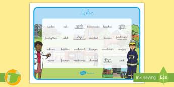 A1 Tapiz de vocabulario: Las profesiones en inglés - jobs, word mat, ocupaciones, trabajo, spanish version, versión española, community helpers, the pe