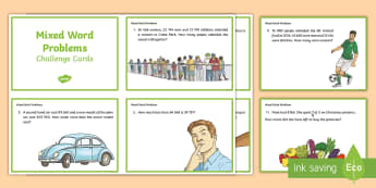 Mixed Word Problems Challenge Cards - Early finishers, Addition, Subtraction, Money, Fractions, Decimals, Irish