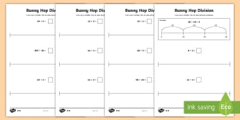 Bunny Hop Division by 2 3 4 5 10  Differentiated Activity Sheets - Repeated Subtraction, Number Line, Divide, Share, Steps