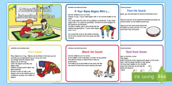 Attention and Listening Games Set 2 Cards - group games, circle time, attention, listening, SLCN