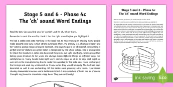 Northern Ireland Linguistic Phonics Stage 5 and 6, Phase 4c, 'ch' Sound Text Activity Sheet - NI, Irish, Sound Search,  Investigation, Phoneme, Grapheme, Letter