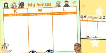 My Senses Topic KWL Grid - senses, topic, kwl, grid, know, learn