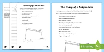 Harland and Wolff Diary Entry Activity Sheets - Harland & Wolff Belfast shipbuilders Titanic docks ,Irish,worksheets