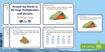 KS1 Around the World in 80 Days Multiplication and Division Maths Challenge Cards - Mark Beaumont, cycle, cycling, bike, bicycle, challenge, adventure, goal, target, setting, World Rec