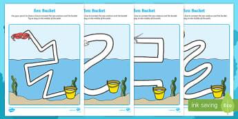 Sea Bucket Pencil Control Path Worksheets - billy's bucket, sea bucket, pencil control path