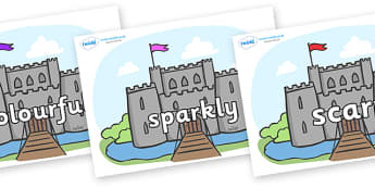 Wow Words on Castles - Wow words, adjectives, VCOP, describing, Wow, display, poster, wow display, tasty, scary, ugly, beautiful, colourful sharp, bouncy