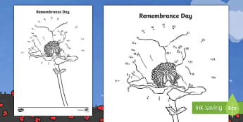 Remembrance Day Dot to Dot Activity- Remembrance Day UK, poppies, morning activities, 11th November, armistice day, pabi coch, dydd y cofio, diwrnod y cofio