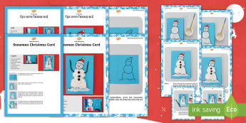 Snowman Christmas Card Craft Instructions English/Hindi  - snowman, Christmas, fun craft, easy craft, festival, celebration, holiday, eal
